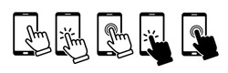 Hand touch screen smartphone icon. Click on the smartphone. Vector icon
