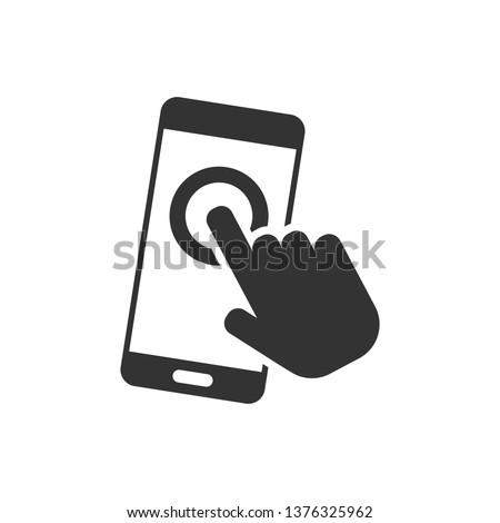 Hand touch smartphone icon in flat style. Phone finger vector illustration on white isolated background. Cursor touchscreen business concept.