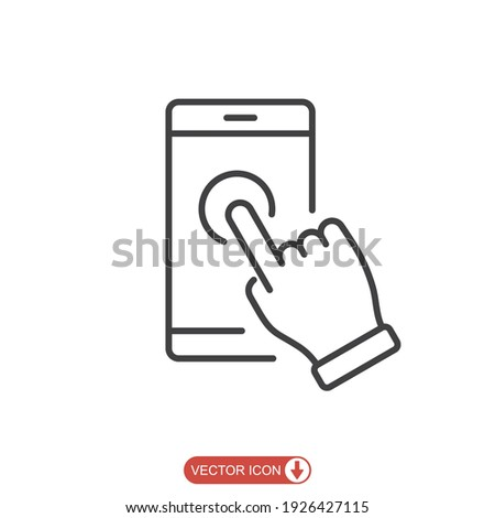 Hand touch smartphone icon in line style. Cursor finger vector illustration on white isolated background. Hand touch screen for app, web design and business concept.