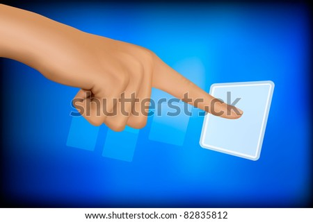 Hand touching a button. Solution concept. Vector.