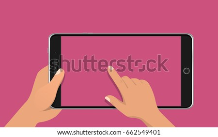Hand touching blank screen of realistic smart phone . Using digital tablet pc, flat design concept. Eps 10 vector illustration.