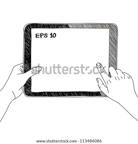 hand touching virtual screen a tablet sketch vector illustration