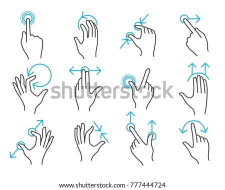 Hand touchscreen gestures. Vector hands actions icons on touch screens like swipe and slide touch