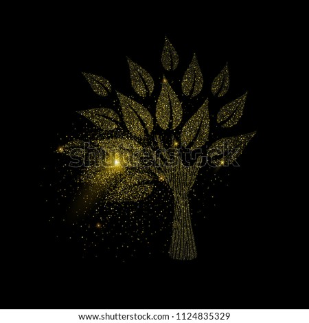 Hand tree symbol concept illustration, gold nature icon made of realistic golden glitter dust on black background. EPS10 vector.