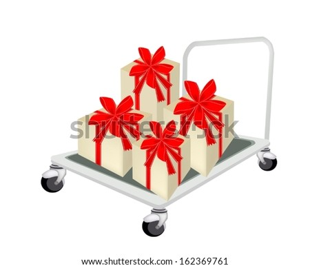Hand Truck or Dolly Loading A Beautiful Gift Boxes with Red Ribbon and Bow, A Perfect Gift or Present for Someone Special.