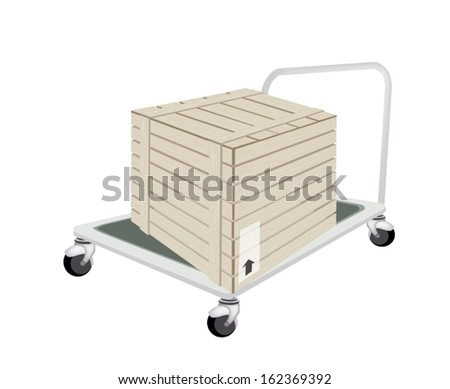 Hand Truck or Dolly Loading A Wooden Crate or Cargo Box Isolated on White Background, Ready for Shipping or Delivery.