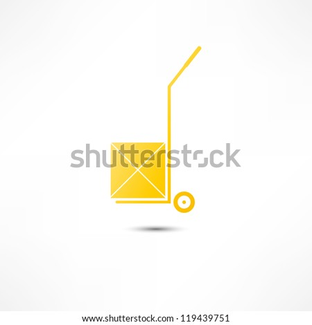 hand truck with cardboard box - stock vector