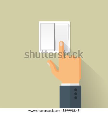 hand turning on the light