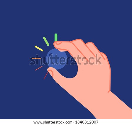 Hand turns button. Low high levels, volume equalizer or change reduction knob. Businessman setting investment utter process vector metaphor Foto stock ©