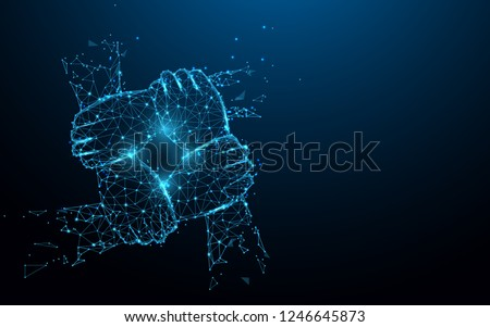 Hand united together form lines, triangles and particle style design. Illustration vector