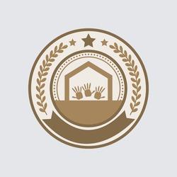 Hand Unity educational, and Community symbol logo. Club, and society-related badges logo.