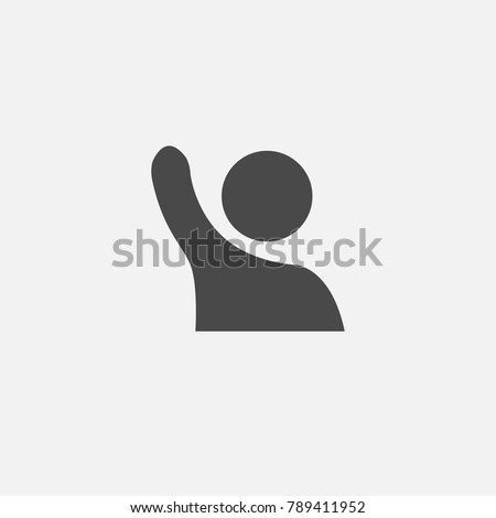 hand up human icon lifting gray vector people for your websites and projects eps10 answering or participating person educational or journalist