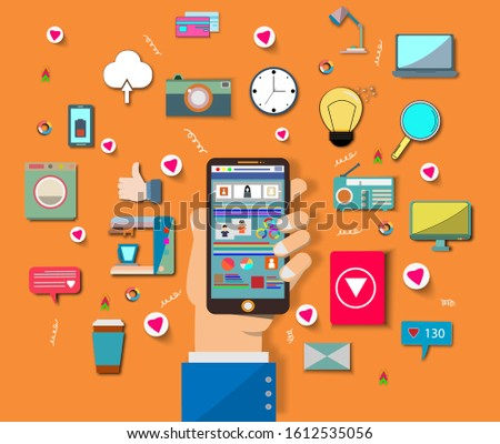 Hand use smart phone with social medial icon.He use application and connect online.Calling service,contact,technology,Vector communicate and flat design vector concept.