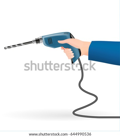 hand using a electric drill on a white background
