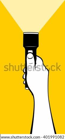 hand using flashlight