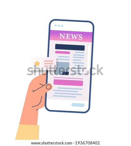 hand using mobile app for online reading news newspaper or magazine on smartphone screen breaking news