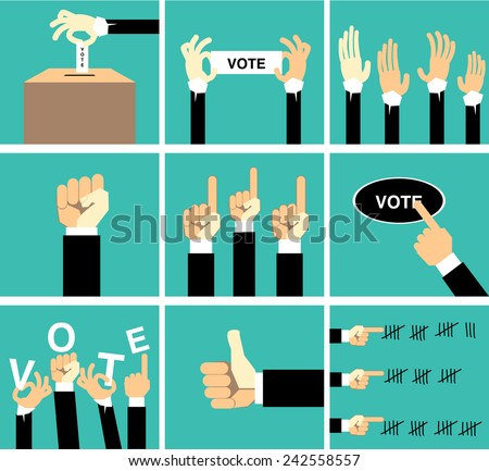 hand vote vector set
