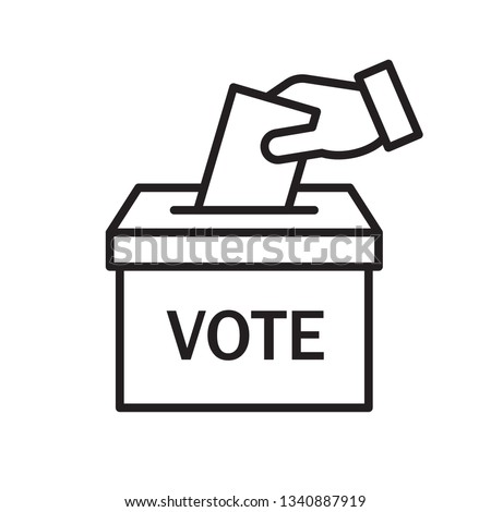 Hand voting ballot box icon, Election Vote concept, Simple line design for web site, logo, app, UI, Vector illustration