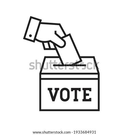 Hand voting ballot box icon, Election Vote concept, Simple line design for web site, logo, app, UI, Vector illustration Foto d'archivio ©