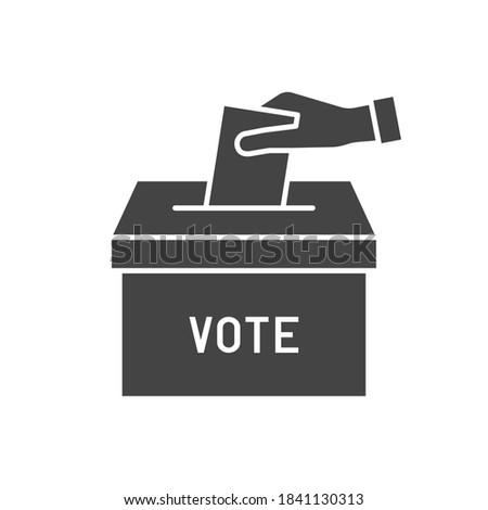 Hand voting ballot box sign vector icon. Election Vote concept.  Foto d'archivio ©