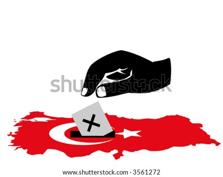 hand voting with ballot paper in turkish election