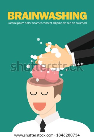 Hand wash and cleaning the businessman's brain. Business manipulation concept. vector illustration Foto stock ©