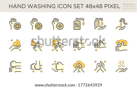 Hand wash correctly icon to protect against infection of coronavirus (covid-19). By using soap and water. Also using alcohol-based handrub both spray and jel. To kills viruses on your hands. 48x48 px. Zdjęcia stock ©