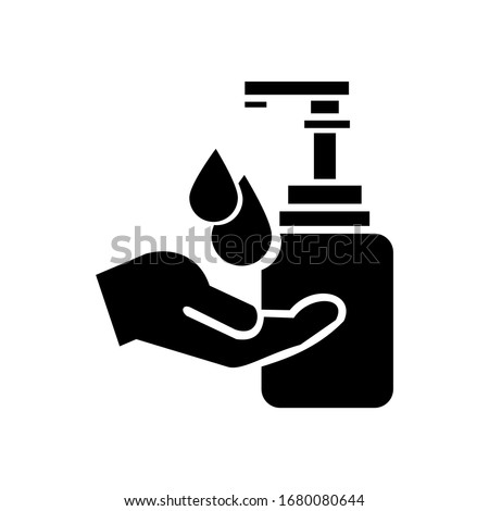 Hand wash in sanitiser  vector illustration design  isolated on white background, symbol for your web site design, icon logo, app, UI.