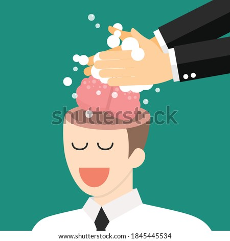 Hand washing enemy businessmans brain. Brainwashing concept. vector illustration Stock photo ©