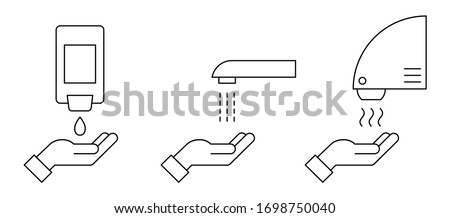 Hand washing procedure thin line icon. Automated touchless restroom equipment with sensors. How to wash hands safely instructions. Soap, scrub, rinse and dry. Vector illustration, flat style, clip art