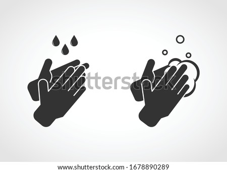 Hand washing with soap, hand wash, sanitation, sterilization method. Vector illustration icon