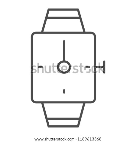 Hand watch thin line icon. Square wrist watch vector illustration isolated on white. Bracelet clock outline style design, designed for web and app. Eps 10