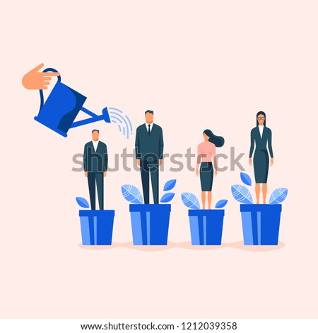 Hand watering employees in flowerpots. Flat design vector illustration concept for career, leadership in a team, professional growth, human resource management isolated on stylish background