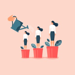 Hand watering women in flowerpots. Flat design vector illustration concept for career, professional growth, supporting employees, coaching, human resource management isolated on bright background