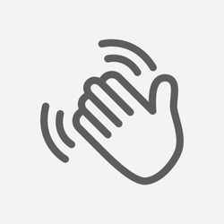 Hand waving icon line symbol. Isolated vector illustration of goodbye gesture sign concept for your web site mobile app logo UI design.