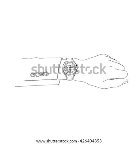 hand wich watch hand drawn