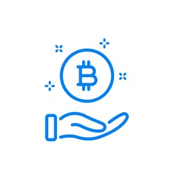 Hand with a Coin Line Icon. Symbol Bitcoin. Payment and Transaction concept. Save and Invest Money Line Icon. Transfer Electronic Cryptocurrency pictogram. Editable Stroke. Vector illustration.