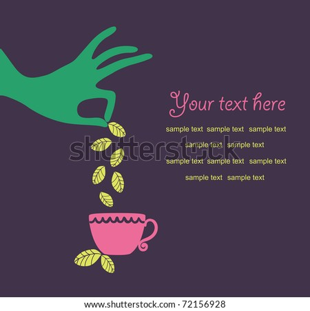 hand with a cup of tea vector