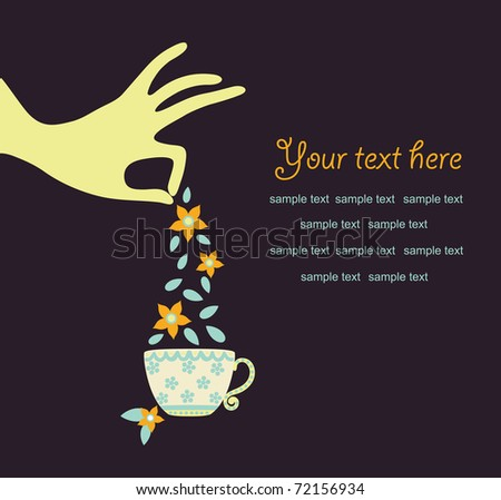 hand with a cup of tea. vector illustration