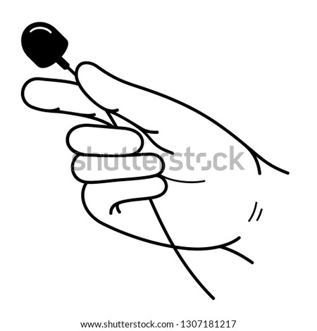 Hand with a lavalier microphone. Vector outline icon isolated on white background.