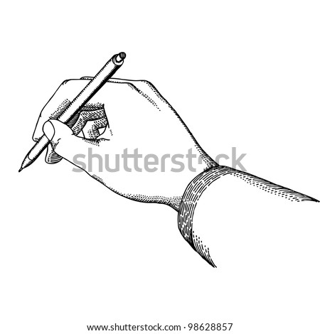 Hand with a pen in vintage style