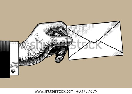 hand with a postal envelope....
