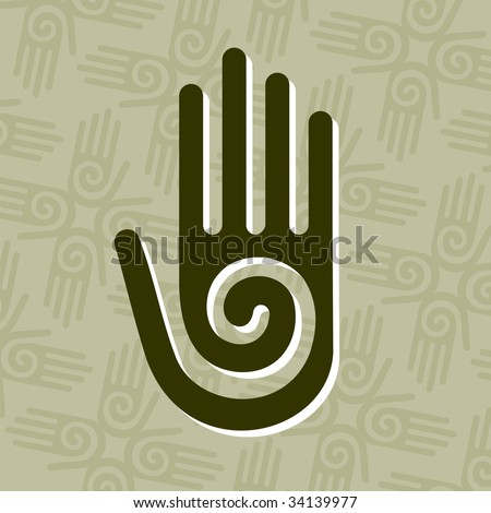 Hand with a spiral symbol on the palm, on a circle of hands background. - stock vector