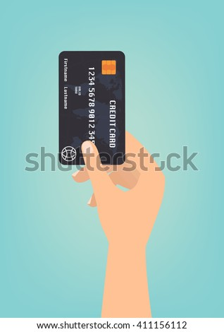 hand with black credit card for