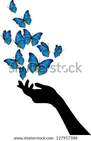 hand with blue butterflies