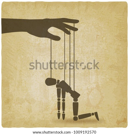 hand with broken puppet old background. vector illustration - eps 10 Stockfoto ©