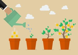 Hand with can watering money tree. Financial growth concept.