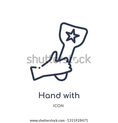 hand with champions cup icon from signs outline collection. Thin line hand with champions cup icon isolated on white background.