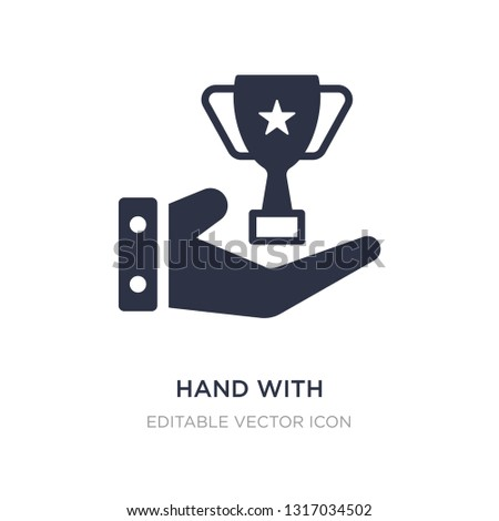 hand with champions cup icon on white background. Simple element illustration from Signs concept. hand with champions cup icon symbol design.