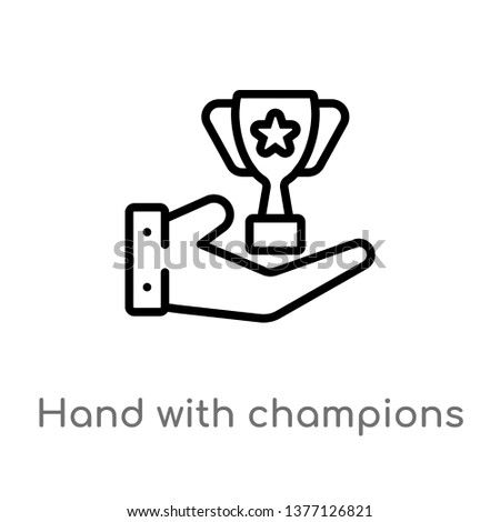 hand with champions cup vector line icon. Simple element illustration. hand with champions cup outline icon from signs concept. Can be used for web and mobile